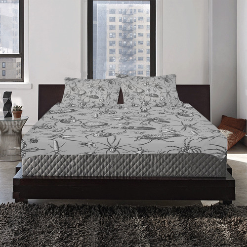 beetles spiders creepy crawlers insects grey 3-Piece Bedding Set