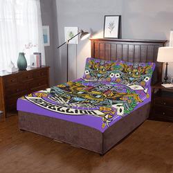 Street Rebellion Modern Purple 3-Piece Bedding Set
