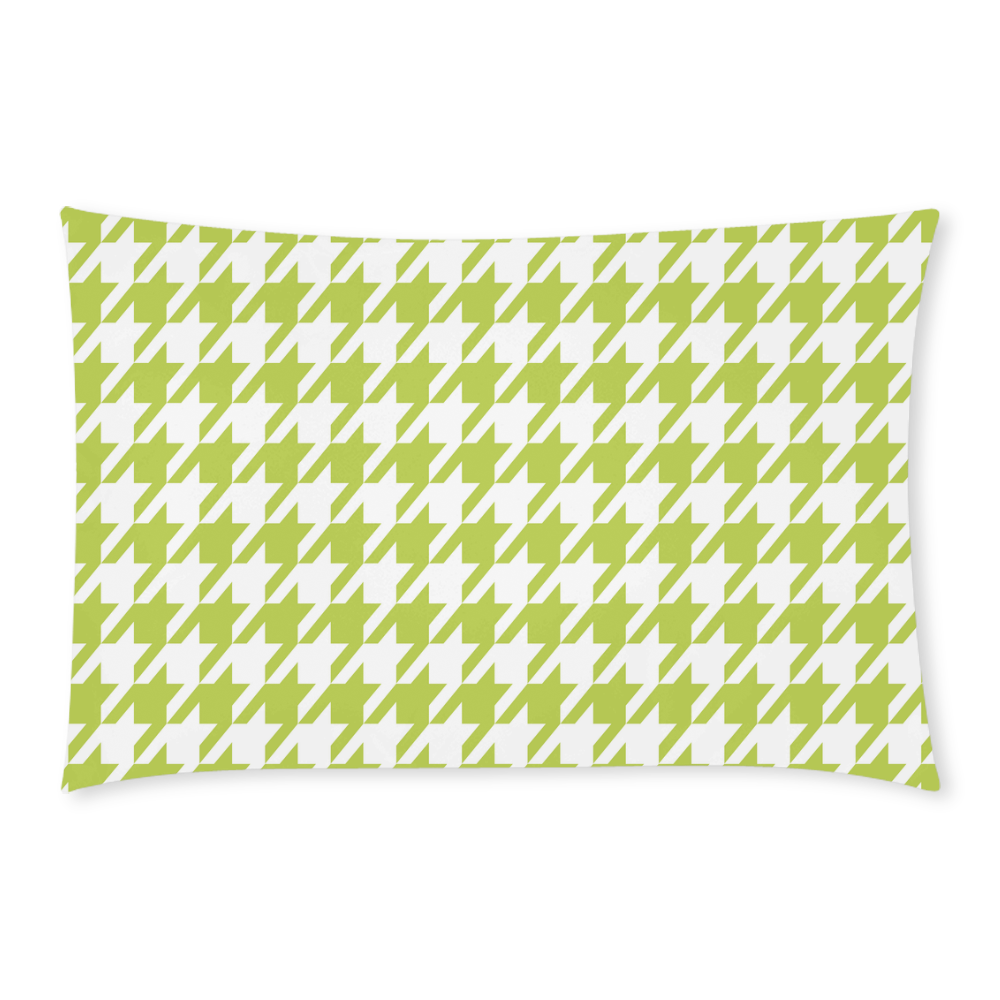 spring green and white houndstooth classic pattern 3-Piece Bedding Set