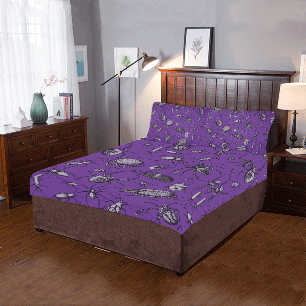 spiders creepy crawlers insects purple halloween 3-Piece Bedding Set