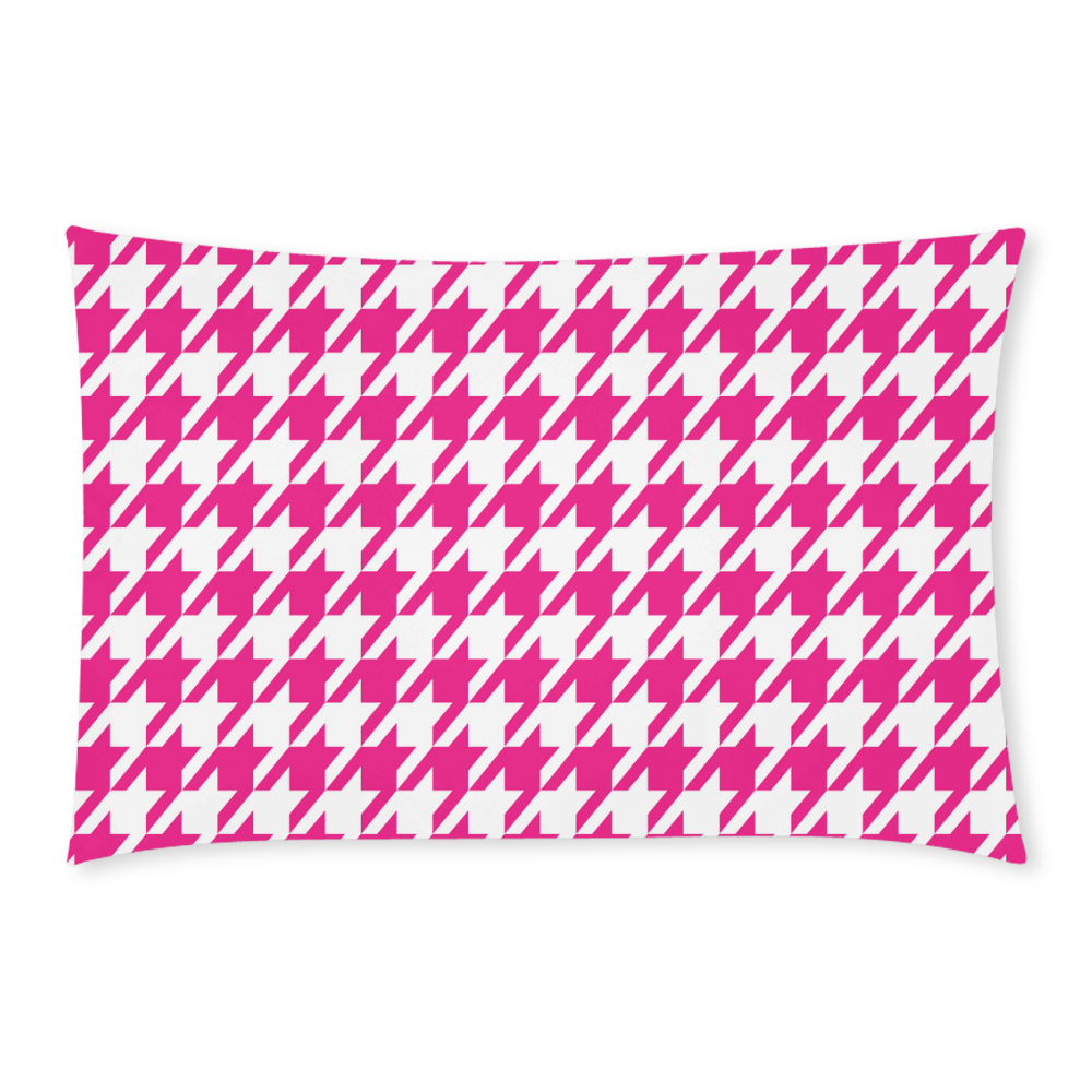 hot pink  and white houndstooth classic pattern 3-Piece Bedding Set