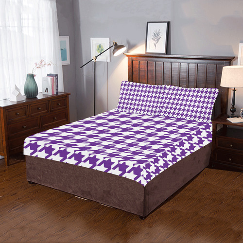 royal purple and white houndstooth classic pattern 3-Piece Bedding Set