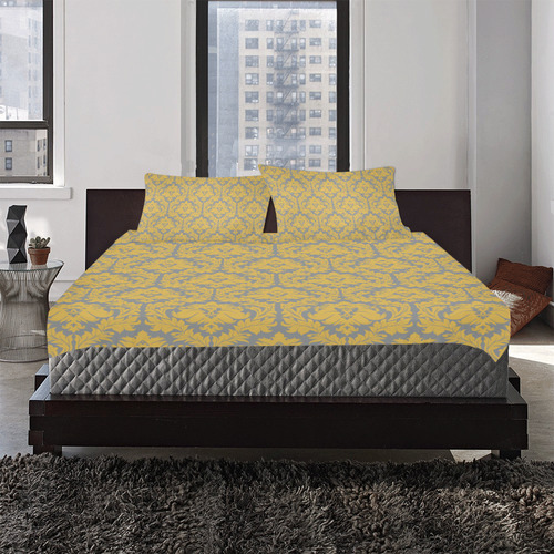 autumn fall mustard yellow grey damask 3-Piece Bedding Set