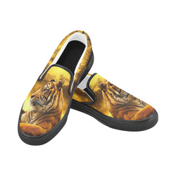 Tiger and Sunset Women's Slip-on Canvas Shoes (Model 019)