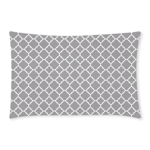 grey white quatrefoil classic pattern 3-Piece Bedding Set