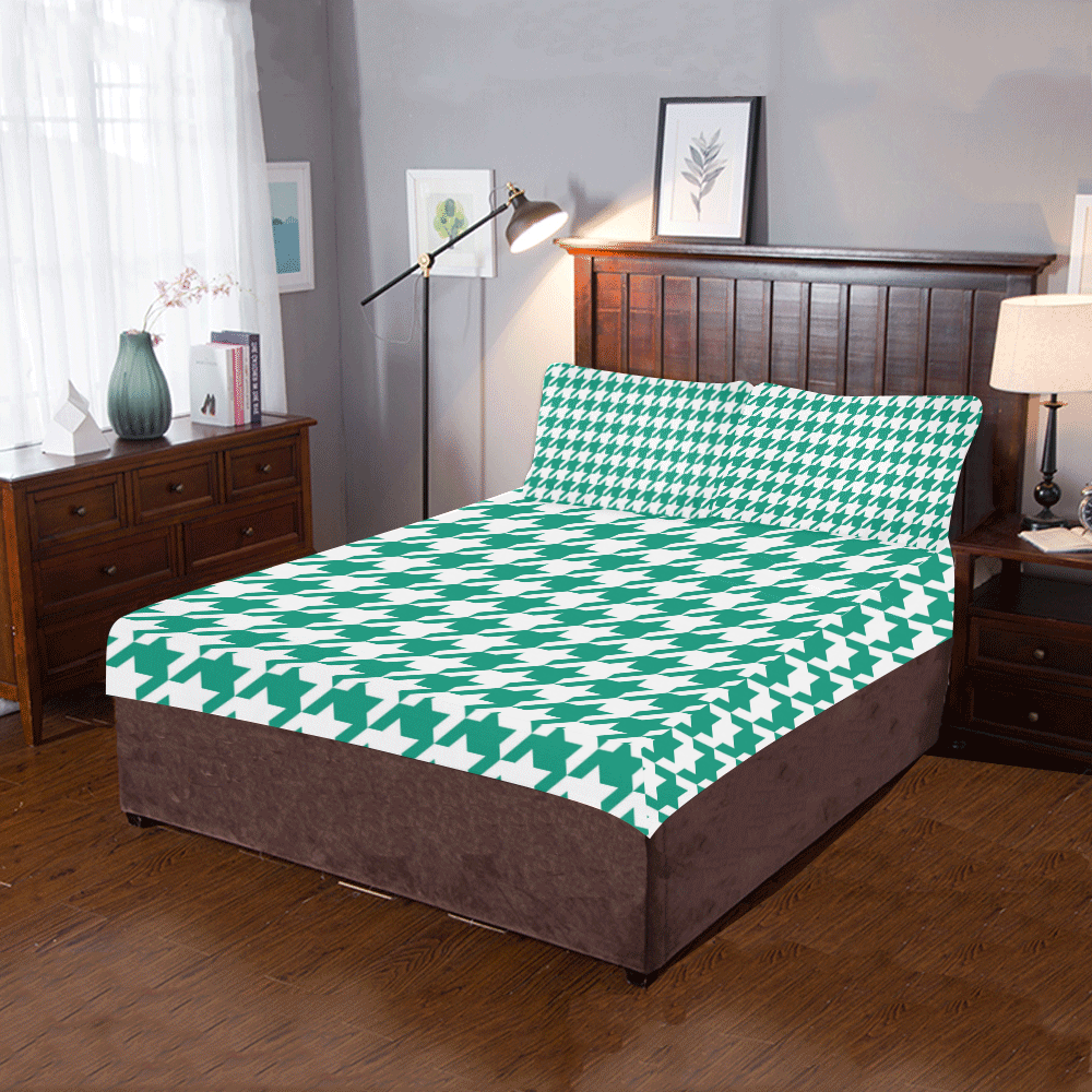 emerald green and white houndstooth classic pattern 3-Piece Bedding Set