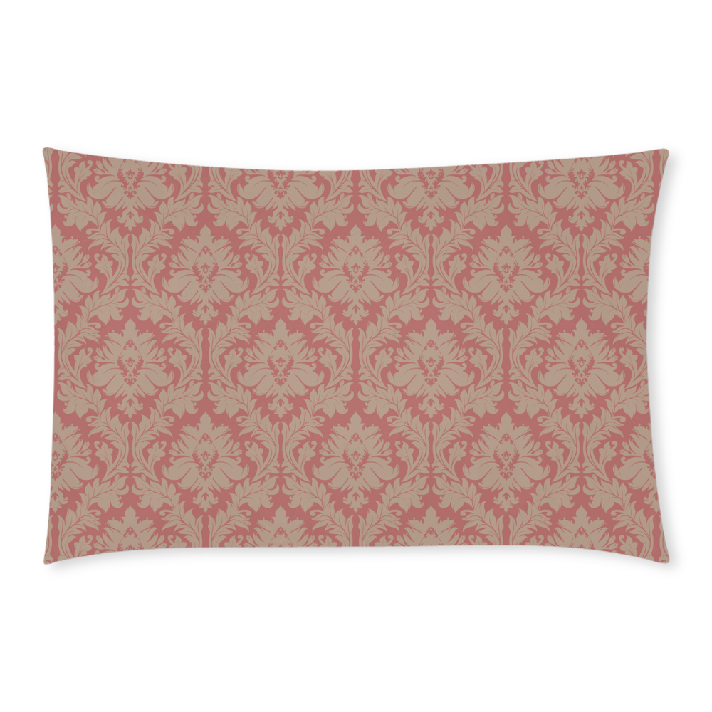 fall colors red pink beige damask 3-Piece Bedding Set