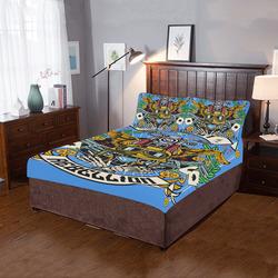 Street Rebellion Modern Blue 3-Piece Bedding Set