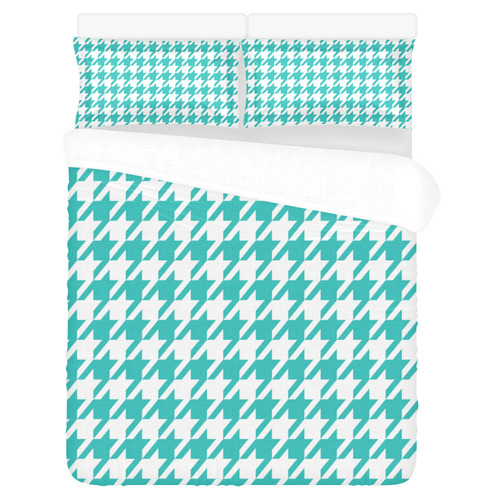 turquoise and white houndstooth classic pattern 3-Piece Bedding Set