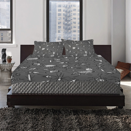 beetles spiders creepy crawlers insects bugs 3-Piece Bedding Set