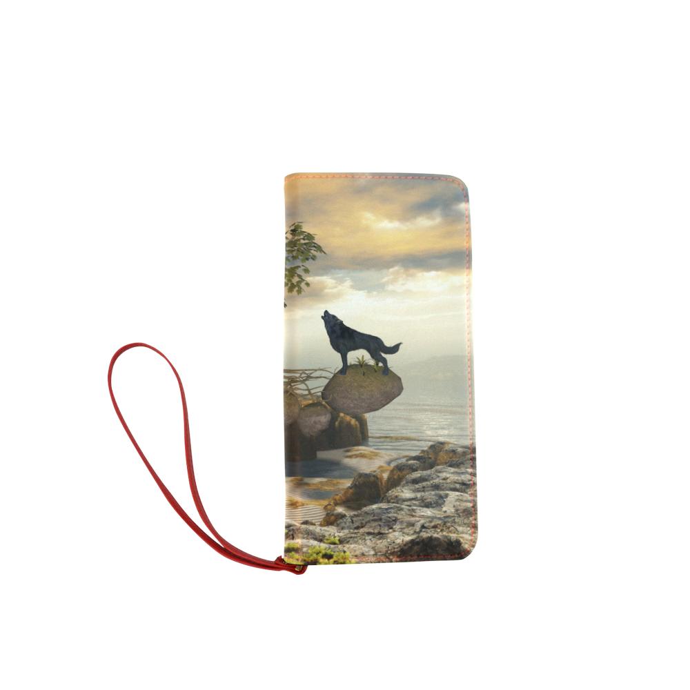 The lonely wolf on a flying rock Women's Clutch Wallet (Model 1637)