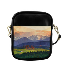 Mountain Meadow Low Poly Landscape Sling Bag (Model 1627)