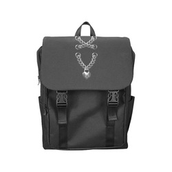 Silver Chain Lock Lacing Love Heart s Casual Shoulders Backpack (Model 1623)