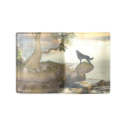 The lonely wolf on a flying rock Men's Leather Wallet (Model 1612)