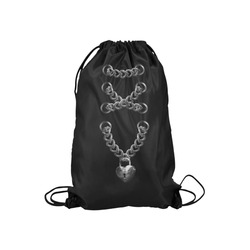 "Silver Chain Lock Lacing Love Heart s Small Drawstring Bag Model 1604 (Twin Sides) 11""(W) * 17.7""(H)"