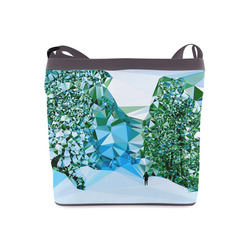 Figure In Snow Low Poly Triangles Crossbody Bags (Model 1613)