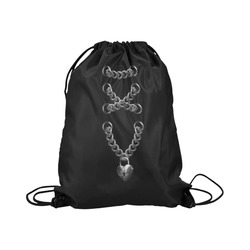 """Silver Chain Lock Lacing Love Heart s Large Drawstring Bag Model 1604 (Twin Sides)  16.5""""(W) * 19.3""""(H)"""