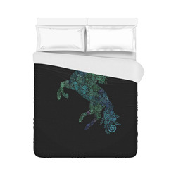 "3D Psychedelic Unicorn blue and green Duvet Cover 86""x70"" ( All-over-print)"