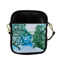 Figure In Snow Low Poly Triangles Sling Bag (Model 1627)