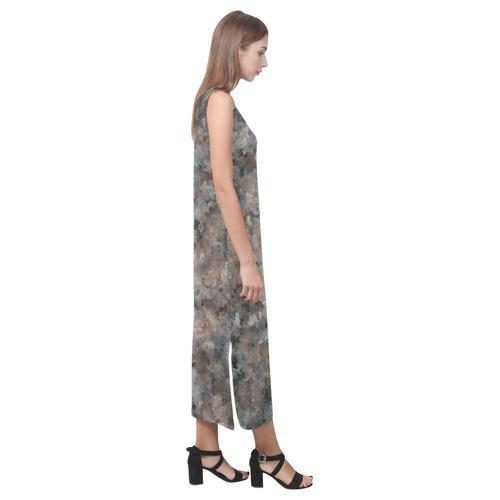Gray and Pink Granite 4629 Phaedra Sleeveless Open Fork Long Dress (Model D08)
