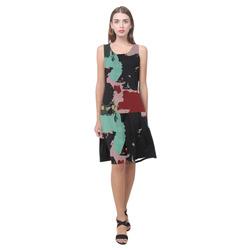 Retro colors texture Sleeveless Splicing Shift Dress(Model D17)