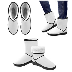 Winter White Custom High Top Unisex Snow Boots (Model 047)