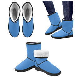 Beautiful Blue Custom High Top Unisex Snow Boots (Model 047)