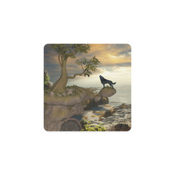 The lonely wolf on a flying rock Square Coaster