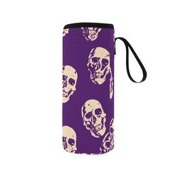 Hot Skulls,purple by JamColors Neoprene Water Bottle Pouch/Medium