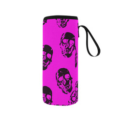 Hot Skulls,hot pink by JamColors Neoprene Water Bottle Pouch/Medium