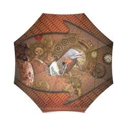 Funny steampunk dolphin, clocks and gears Foldable Umbrella (Model U01)