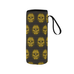 skulls and dotts,golden by JamColors Neoprene Water Bottle Pouch/Medium