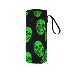 Hot Skulls, green by JamColors Neoprene Water Bottle Pouch/Medium
