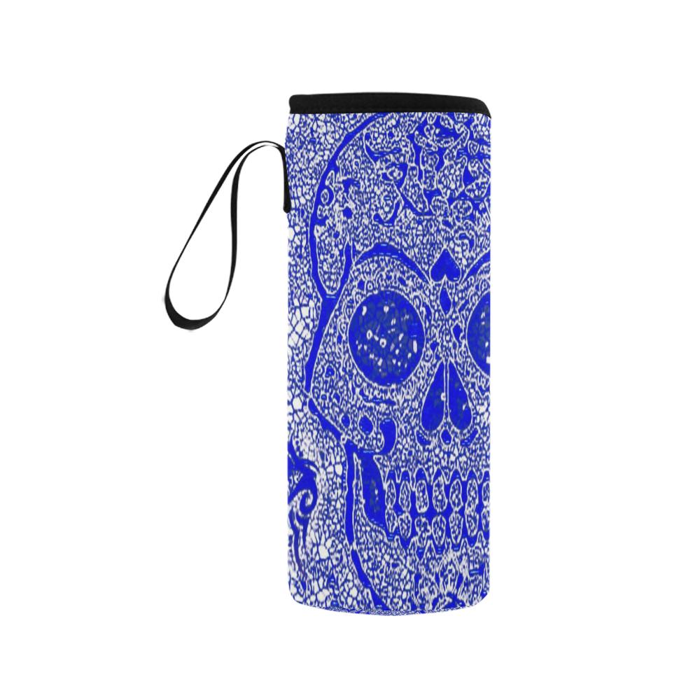 mosaic skull blue Neoprene Water Bottle Pouch/Medium