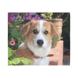 "Flower Garden Dog Geometric Floral Cotton Linen Wall Tapestry 60""x 51"""