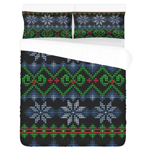Ugly Christmas Sweater Knit, Christmas 3-Piece Bedding Set