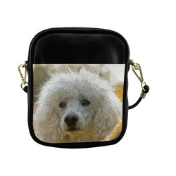 White Poodle Dog Low Poly Triangles Sling Bag (Model 1627)