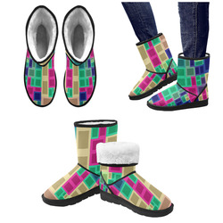 Rectangles and squares Custom High Top Unisex Snow Boots (Model 047)