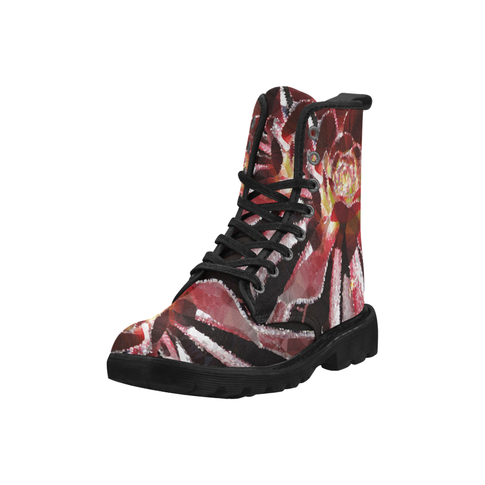 Red Succulent Geometric Low Poly Triangles Martin Boots for Women (Black) (Model 1203H)