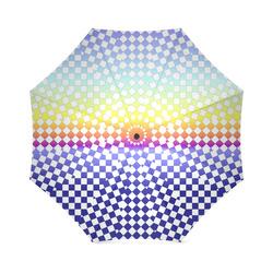 Umbrella Multi-colored Rainbow White Check Pattern by Tell3People Foldable Umbrella (Model U01)