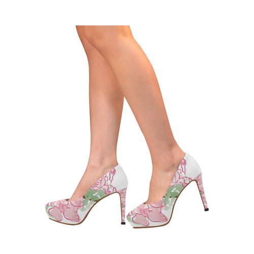 Pink blossom high heels Women's High Heels (Model 044)