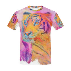 Painterly Animal - Tiger by JamColors All Over Print T-Shirt for Men (USA Size) (Model T40)