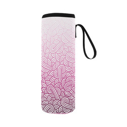 Gradient pink and white swirls doodles Neoprene Water Bottle Pouch/Large