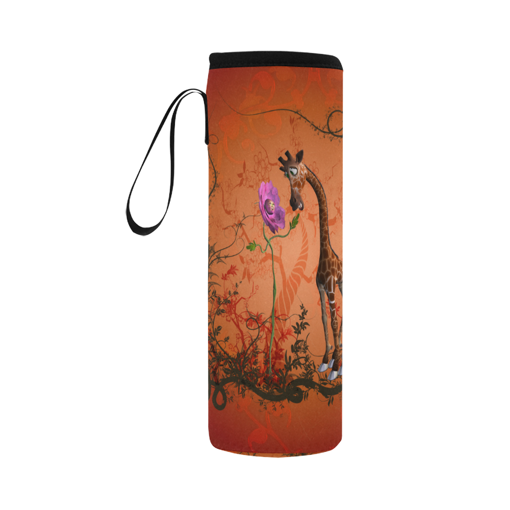 Funny giraffe speak with a flower Neoprene Water Bottle Pouch/Large