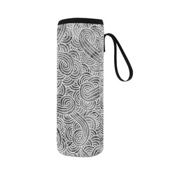Grey and white swirls doodles Neoprene Water Bottle Pouch/Large