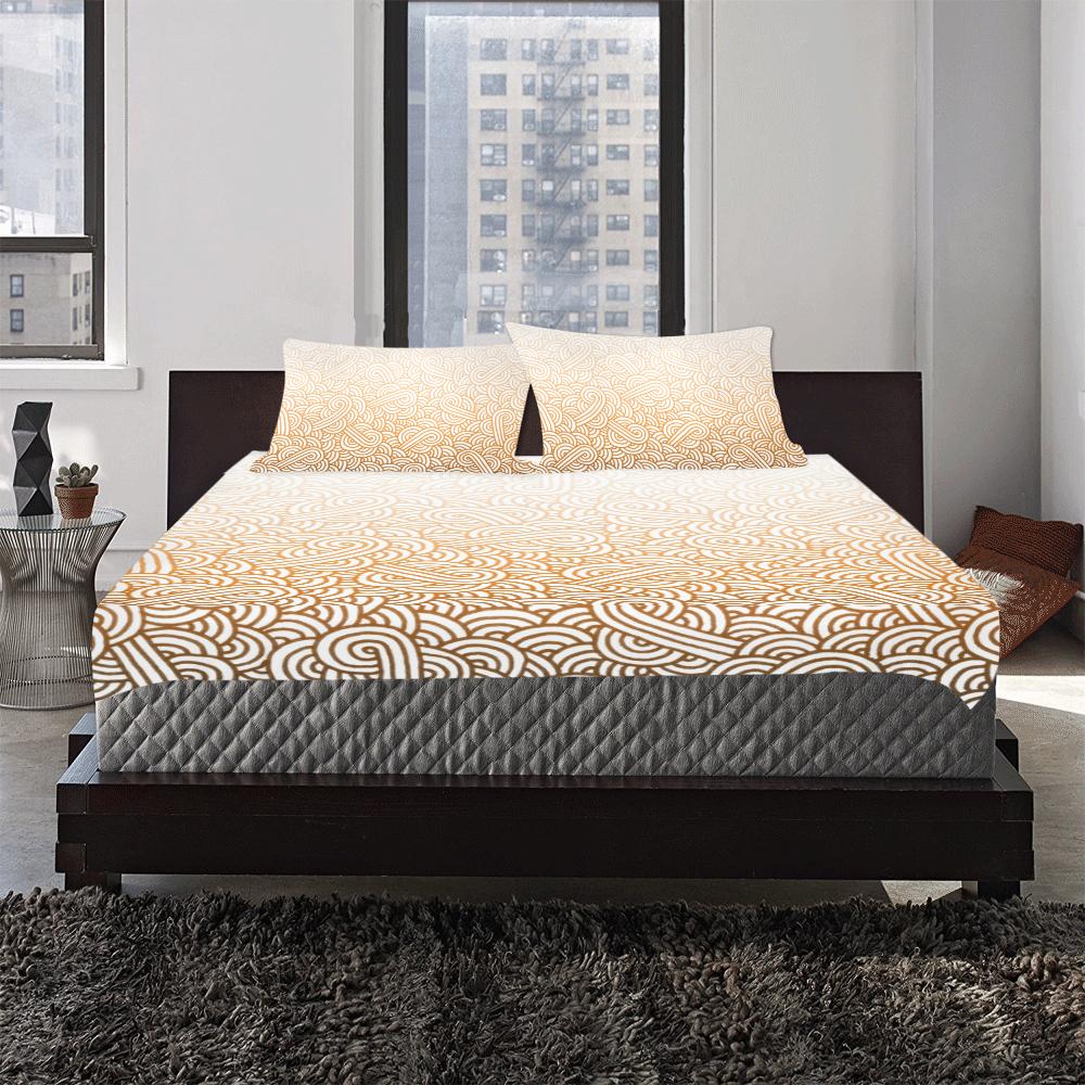 Gradient orange and white swirls doodles 3-Piece Bedding Set