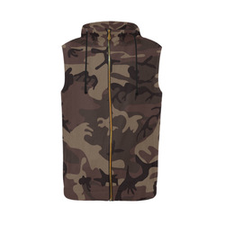 Camo Red Brown All Over Print Sleeveless Zip Up Hoodie for Men (Model H16)