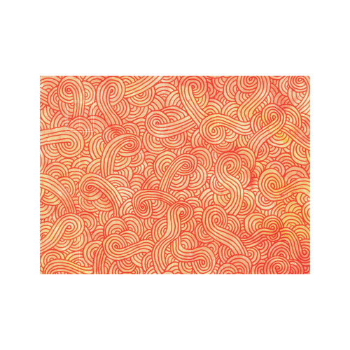 Orange and red swirls doodles Neoprene Water Bottle Pouch/Small