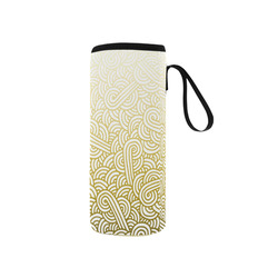 Gradient yellow and white swirls doodles Neoprene Water Bottle Pouch/Small