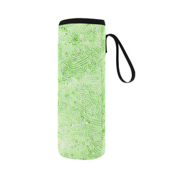 Light green and white swirls doodles Neoprene Water Bottle Pouch/Large